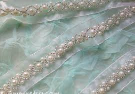 beaded lace trim in white pearl lace trim for wedding sash