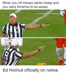 Ed Hochuli Meme - when you hit triceps earlier today and you want america to be