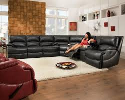 Reclining Sectional Sofa Southern Motion Shazam Six Seat Reclining Sectional Sofa With Cup