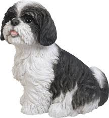 shih tzu black sitting resin garden ornament 26 59