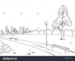 park graphic art black white bench stock vector 486189802