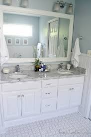 How To Paint A Bathroom Vanity Bathroom Makeover Reveal Frame Mirrors White Marble And Countertop