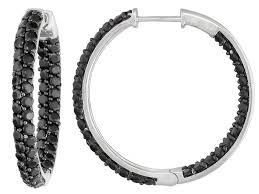 black hoop earrings black spinel 4 50ctw sterling silver inside out hoop earrings