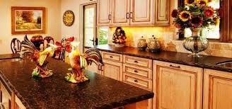 kitchen with italian decor wall art and ceramic rooster and