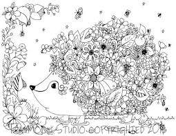 hedgehog garden coloring printable coloring pages