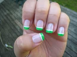 purple polish neon green french manicure