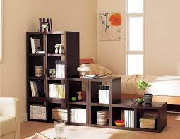 furniture brown wooden cube shape bookshelft divider in small