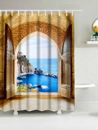 waterproof fabric shower curtain wtih window seaview print brown