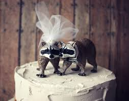 raccoon wedding cake topper bride and groom mr and