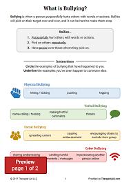 bullying worksheet packet worksheet therapist aid