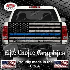 Thin Blue Line Flag Police Thin Blue Line Flag Truck Tailgate Wrap Vinyl Graphic