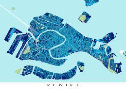 Venice Map Venice Italy Venice Map Venezia Travel Maps Blueprint Art