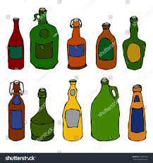 beer bottle cartoon set vintage beer vine bottles realistic stock vector 655866193