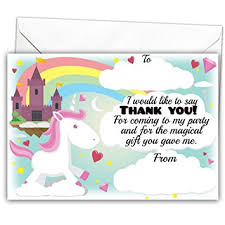 pack of 20 glossy unicorn party thank you note cards with 20