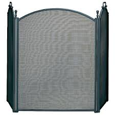 uniflame black large diameter 3 panel fireplace screen with woven