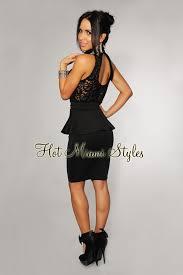 peplum dress black lace high neck peplum dress