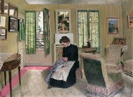 femme chambre vallotton félix chambre gris vert avec femme en noir cousant 1904