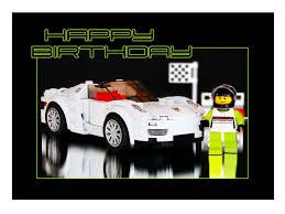 lego speed champions porsche 918 spyder lego minifigure birthday card porsche 918 spyder 7 x 5 ins