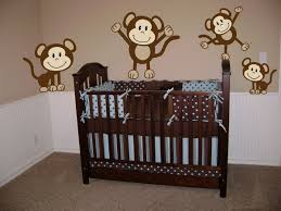 Monkey Decorations For Nursery Bedroom Wide Solid Teak Crib And Monkey Bedding Inside Spacious
