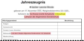 mathematikschwäche integrationszeugnisse schulleiterinnen service wiki