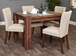shiro walnut 4 seater dining table set biscuit flare back