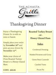 thanksgiving dinner casserole thanksgiving dinner from the achasta grille achasta golf resort