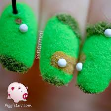 piggieluv fun 3d golf course nail art