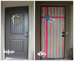christmas door wrapping paper a birthday front door a girl and a glue gun