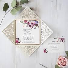 wedding invitation cards bohemian floral glittery laser cut wedding invitation cards