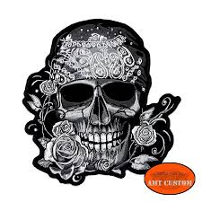 motorcycle jacket vest skull pirate u0026 rhinestone lady rider patch biker jacket vest amt