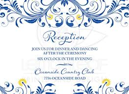 wedding reception cards royal blue yellow floral wedding reception enclosure card