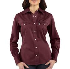 women u0027s work wash twill snap front shirt out ws002 carhartt