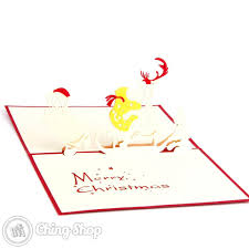 santa pulling a lazy reindeer on sleigh 3d pop up christmas card