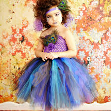 halloween costumes baby girls new peacock tutu dress girls feathers pageant tulle dresses