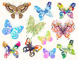 rainbow butterfly clipart colorful flying butterfly pencil and