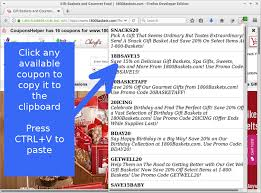 Gourmet Gift Baskets Coupon Couponshelper U2013 Add Ons For Firefox