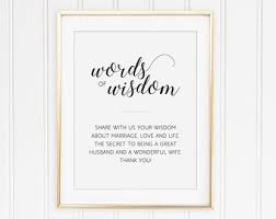 bridal shower words of wisdom marriage advice etsy