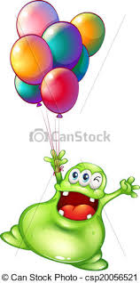 metallic balloons illustration of a with metallic balloons on a white