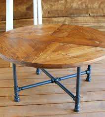 Pipe Coffee Table by Reclaimed Wood Round Pattern Coffee Table With Pipe Legs