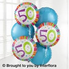 50th birthday flowers and balloons 50th birthday helium balloon bouquet torquay florist paignton