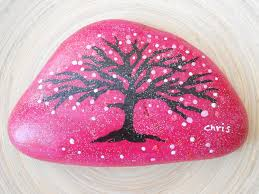 hand painted stones home decor painted rock pebble acrylic tree