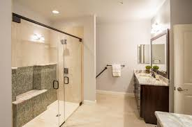 award winning bathroom with curbless shower in ellicott city md