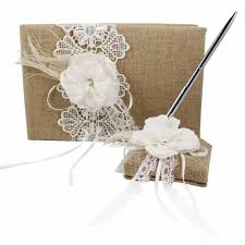 burlap and lace ribbon jute burlap wedding guest book and pen set with floral lace ribbon