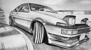 drift cars drawings toyota corolla sprinter trueno ae86 gt apex hachiroku drawing