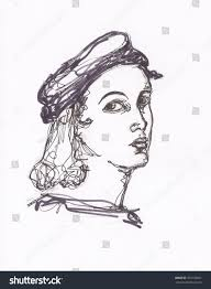pencil drawings portraits masters biography cards stock