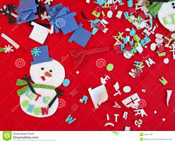 children christmas craft art supplies and material stock image