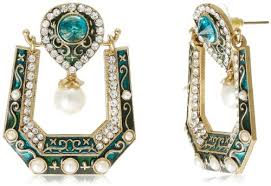 karigari earrings karigari bazar pearl drop earrings for women green ad 9430a at
