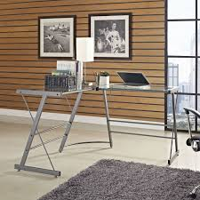 glass top l table metal frame glass top l shape desk laptop computer writing table