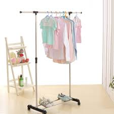 ideas simple black polished iron industrial stand clothes hanger