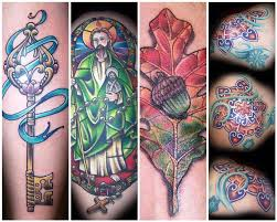 1 key with ribbon tattoo 2 st jude 3 oak leaf tattoo 4